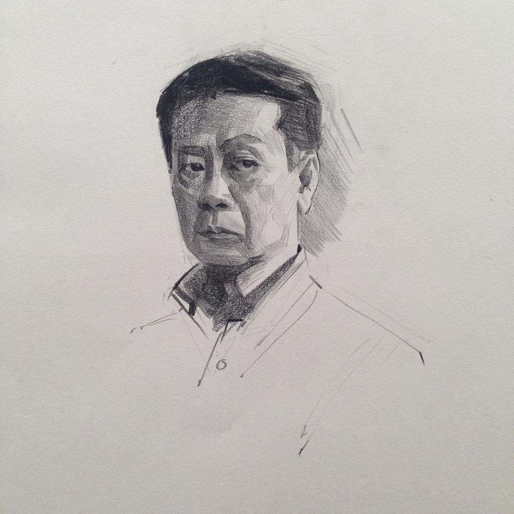"""Portret gospodina Cuđimure"", olovka na papiru, 2018."